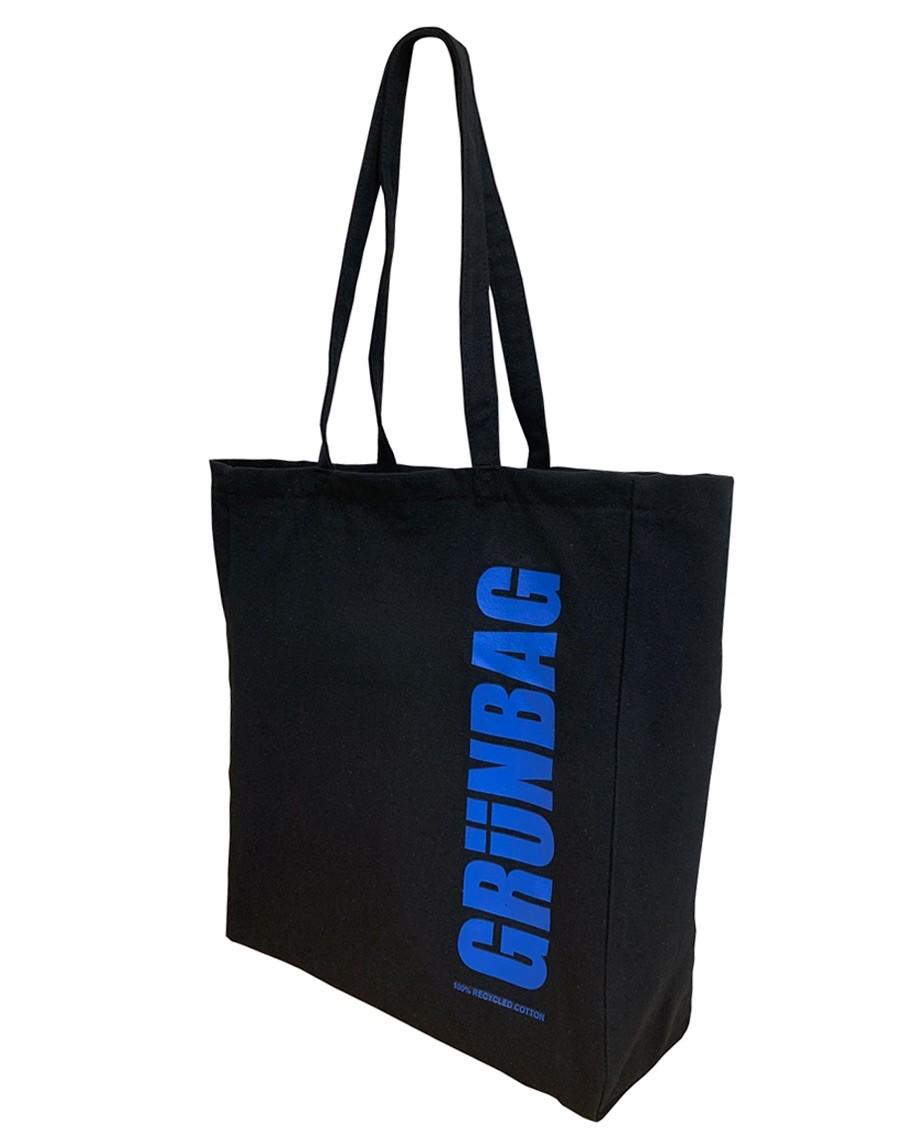 Black GRÜNBAG Tote blue logo-04
