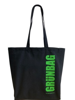 Black GRÜNBAG Tote green logo-20